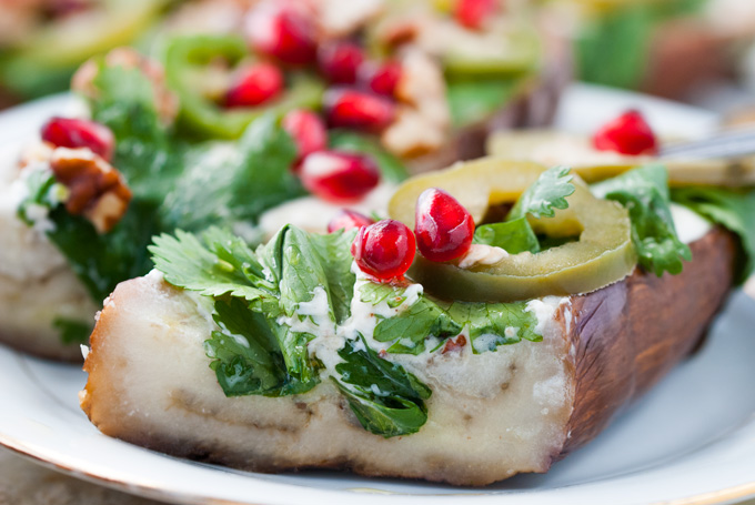 GRILLED EGGPLANT WITH CILANTRO, JALAPENOS AND POMEGRANATE ...
